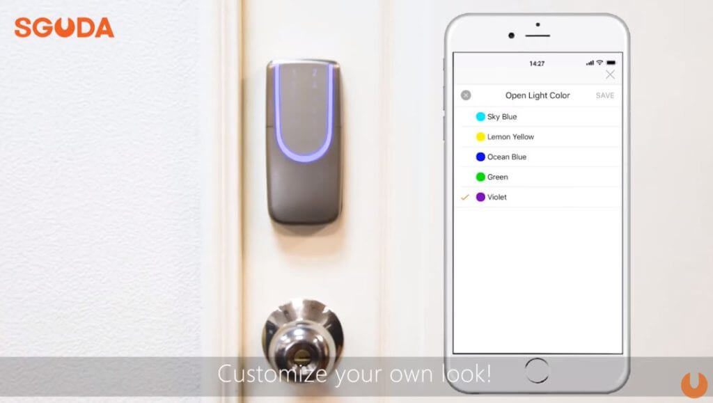 Customize SGUDA wifi door lock light